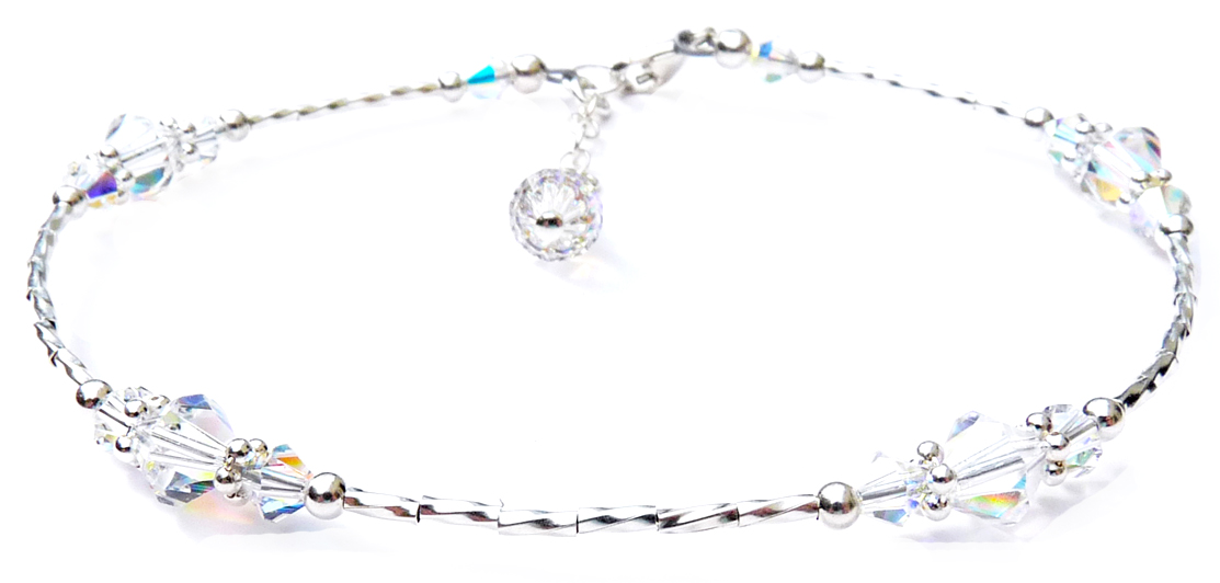 Crystal Beaded Sterling Silver Anklets for Women