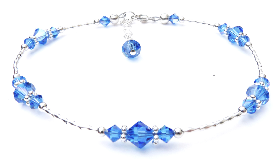 Sapphire Beaded Sterling Silver Anklets for Women