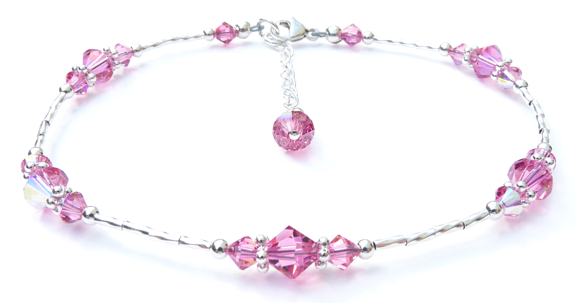 Pink Tourmaline Beaded Sterling Silver Anklets for Women