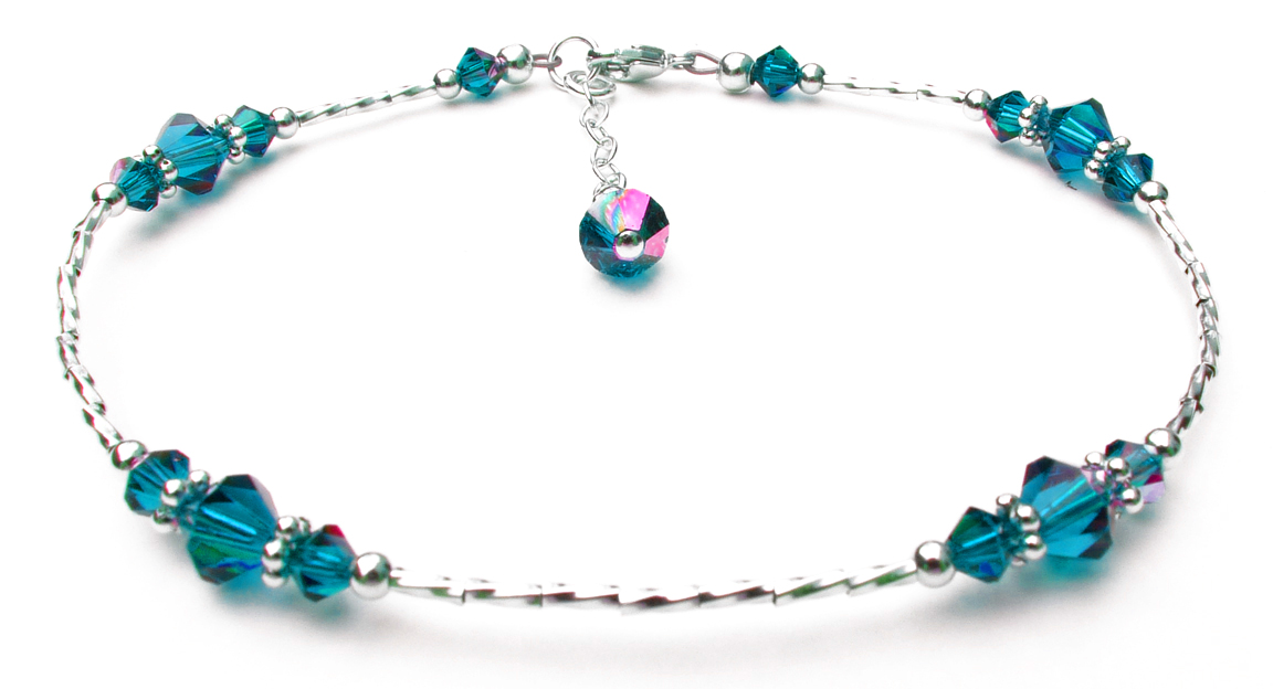 Blue Zircon Beaded Sterling Silver Anklets for Women