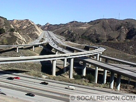 View of the 14 Freeway at the 5.