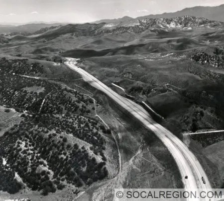 Aerial Photo of US 99 over Tejon Pass. Taken in 1958. View is southerly. Photo Courtesy - Caltrans