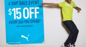 PUMA Online Store – $15 Off Every $60 You Spend