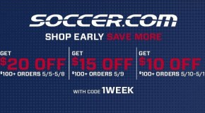 "Soccer.com ""Shop Early – Save More"" Sale!"