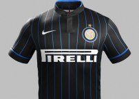 A dramatic change as Inter goes away from their normal stripes for a pinstripe look.