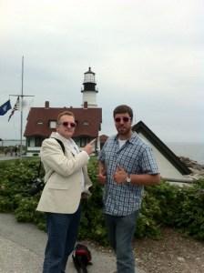 Bob Collins and Adam O'Brien at Portland Head Light