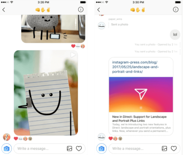 Instagram added support for web links in Direct and now allows users to select landscape and portrait orientations for an image