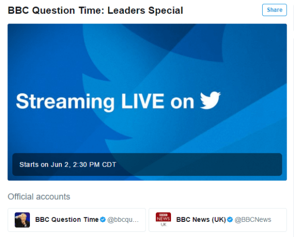 Twitter and the BBC announce first livestreaming partnership.