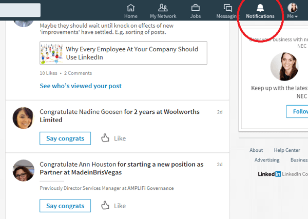 When you click the Notifications icon, LinkedIn displays connections who have recently had a special occasion.