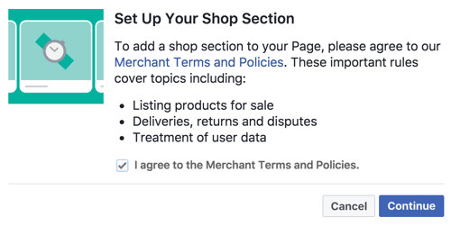 Agree to the Merchant Terms and Policies to set up your Facebook Shop section.