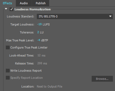 I use these loudness normalization settings when exporting my audio file in Adobe Premiere.