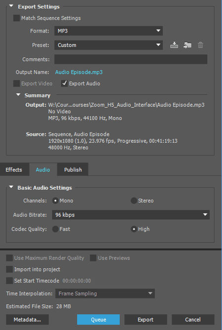 Export your audio as an MP3 file in Adobe Premiere.