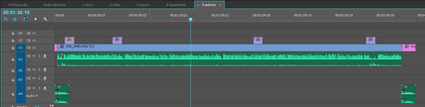 A view of the entire video sequence after adding the video recording and graphic.