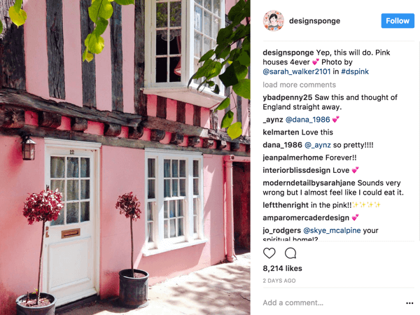 DesignSponge encourages Instagram followers to contribute photos based an ever-changing hashtag that defines a theme.