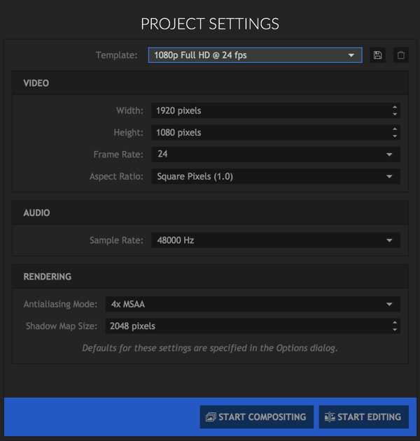 Select the settings you want to use for your HitFilm Express project.