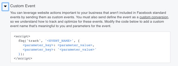 Facebook also gives you the option to create custom events.