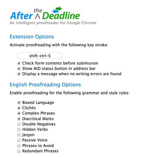 Customize After the Deadline to check your blog posts for issues that matter to you.