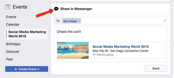 Facebook prompts users to share an Event discovered in Facebook with other Messenger users.
