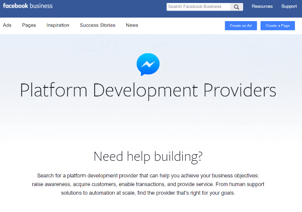 Facebook's new directory of platform development providers is a resource for businesses to find providers that specialize in building experiences on Messenger.