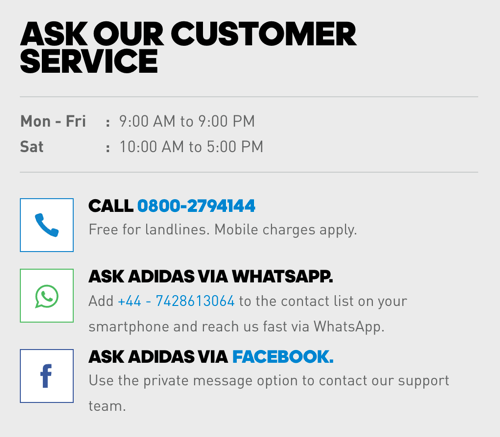 In addition to a phone number, Adidas includes WhatsApp and Facebook Messenger links for customer care options.