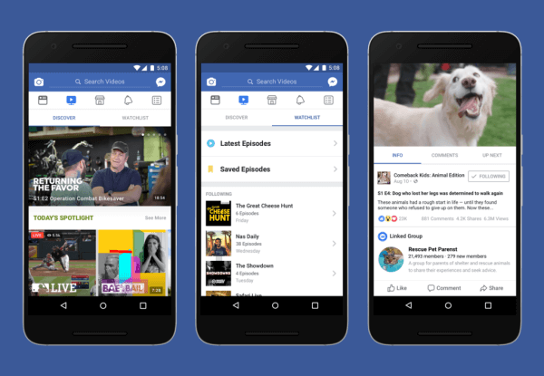 Facebook launches a new Watch tab for original video programming.