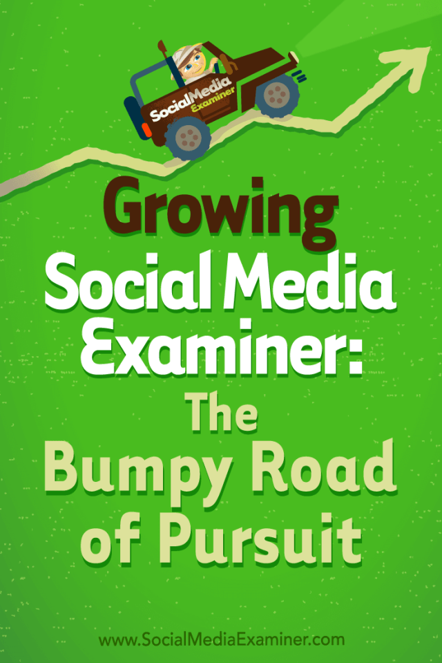 Growing Social Media Examiner: The Bumpy Road of Pursuit featuring Michael Stelzner and Mark Mason on Social Media Examiner.