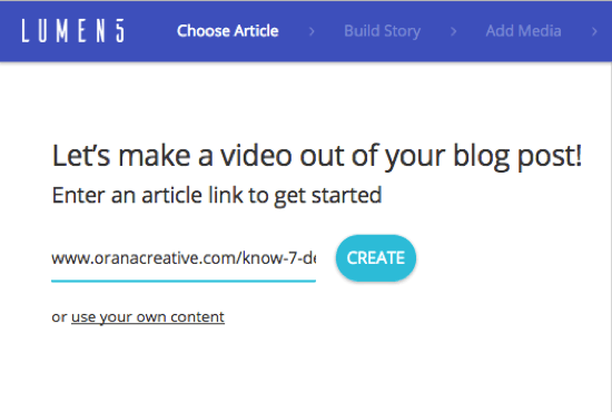 Add the URL for the blog post from which you want to create a Lumen5 video.