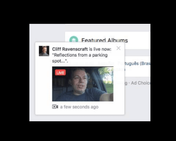 Facebook appears to be testing a pop-up alert for videos on the desktop.
