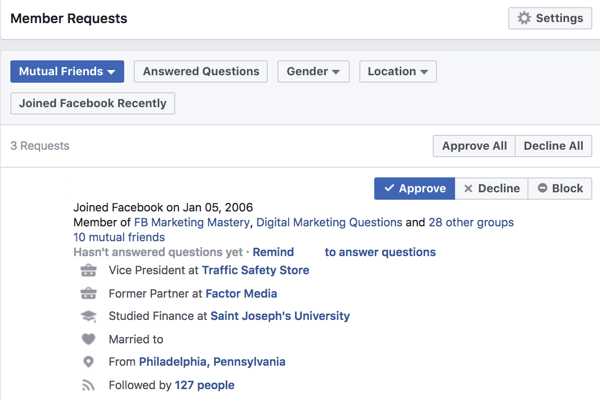 View personal information about users who want to join your Facebook group.