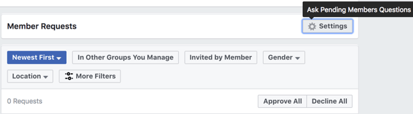 Click Settings under Member Requests to set up pending member questions.