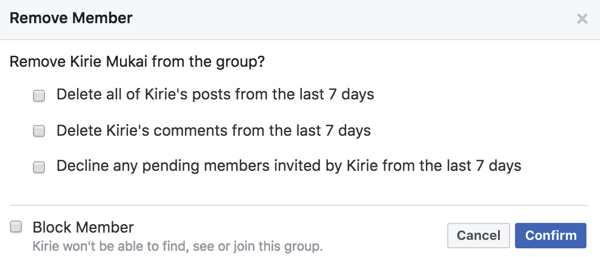 You can delete members' posts, comments, and invites when you remove them from your Facebook group.