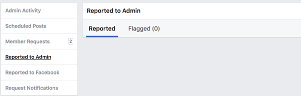 View Facebook group members who have been reported to the admin or flagged by other members.