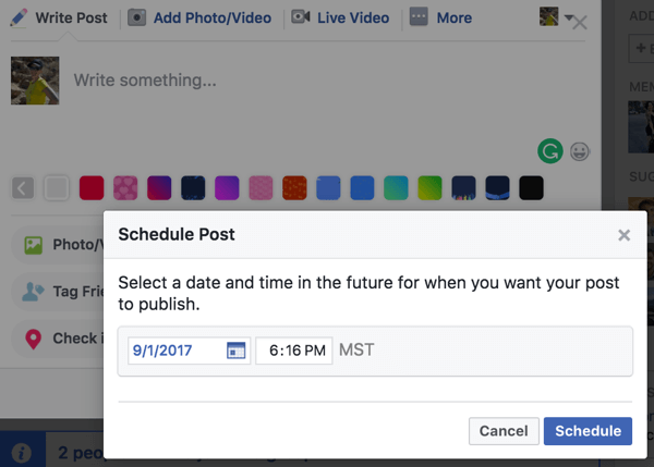 Schedule a post in your Facebook group.