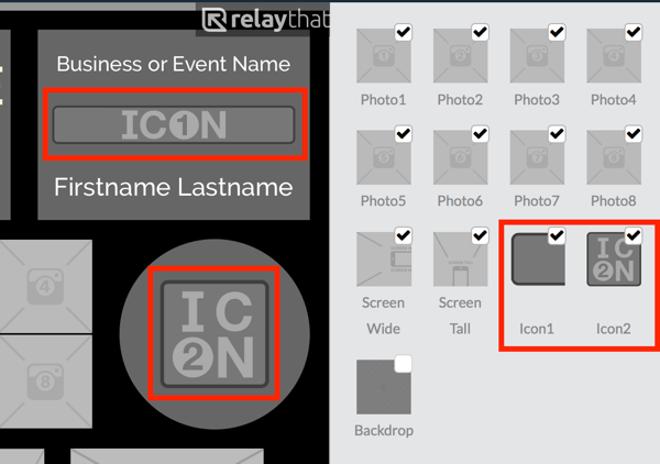 Upload your logo to the Icon1 or Icon2 thumbnail in RelayThat.