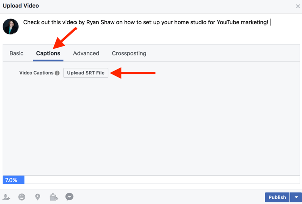 Facebook business pages can add SRT files to native videos.