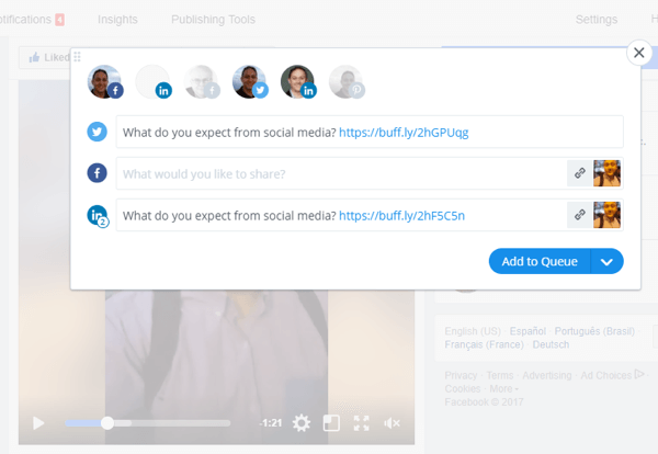 Tools such as Buffer can help you share Facebook Live video on multiple social media platforms.