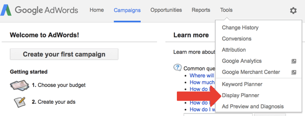 Display Planner is a free tool in Google AdWords.