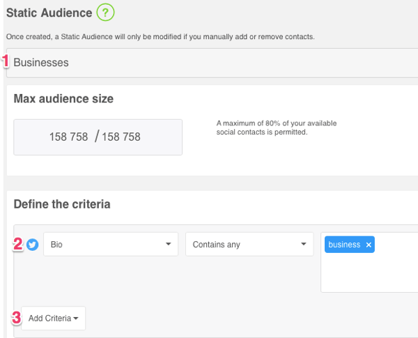 Set parameters for your custom audience.