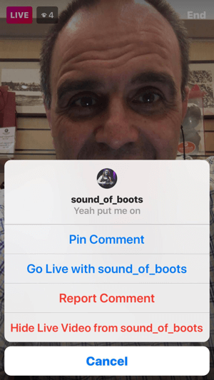 Select Go Live With to invite the guest into your live video.
