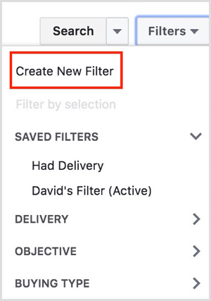 facebook ads manager create new filter
