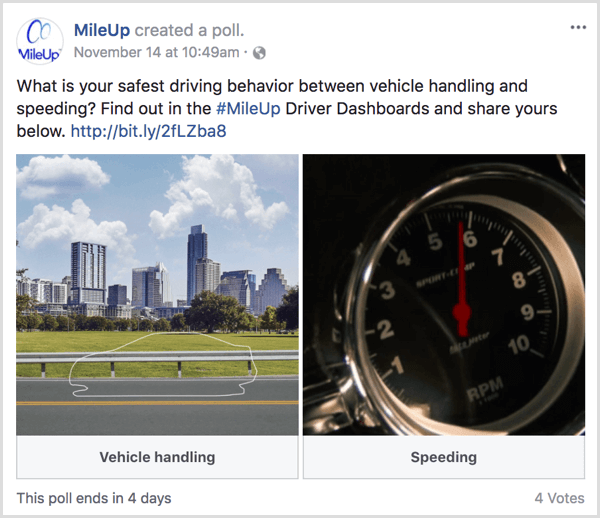 Facebook gif poll drive website traffic example