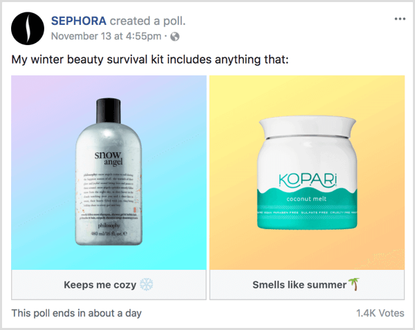 Facebook gif poll gauge product interest example