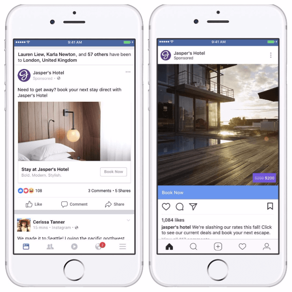 Facebook adds social context and overlays to dynamic ads for travel.