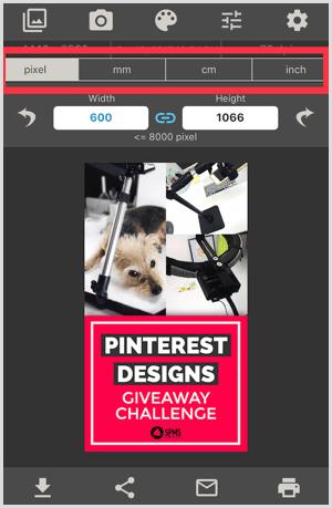 image size app select measurement