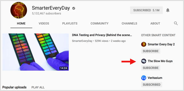 YouTube featured channels