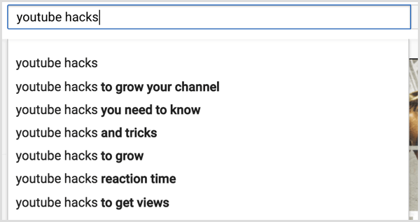 YouTube search for relevant keywords