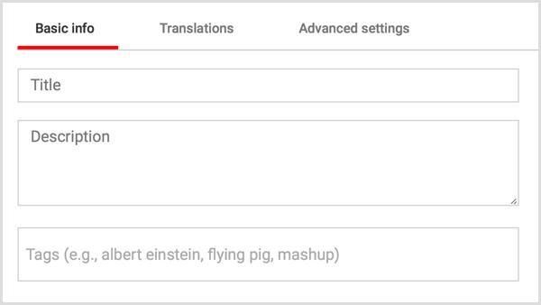 YouTube video title description tags