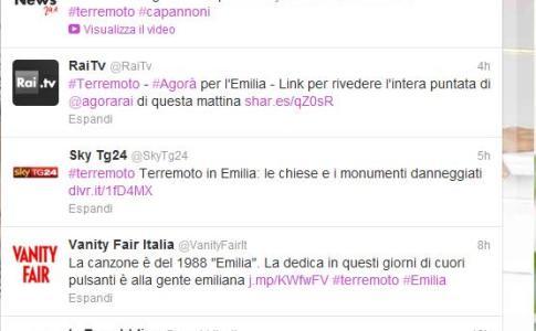 #terremoto su Twitter - tra i primi hastag in Italia