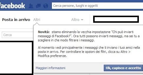 Filtrare messaggi Facebook