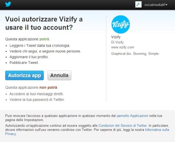 Autorizzare Vizify a usare account Twitter